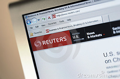 Reuters.com main internet page Editorial Photo