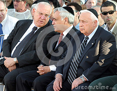 Reuven Ruby Rivlin, Moshe Katsav, and Ariel Sharon Editorial Photography