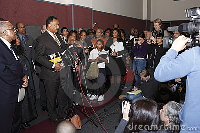 Rev. Jesse Jackson at press conference Editorial Stock Photo