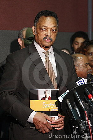 Rev. Jesse Jackson at press conference Editorial Stock Image