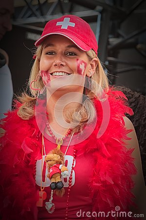 Free Reveler In Swiss Colours Royalty Free Stock Photos - 109235548