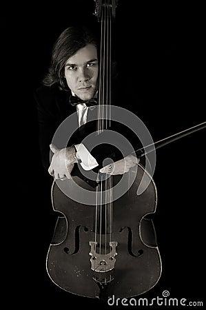 Reverie contrabass musician in sepia