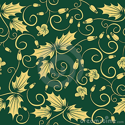 Revival Green floral seamless pattern