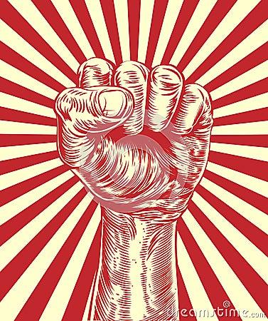 Revolution Fist Propaganda Poster Original Illustration Revolutionary Held Air Vintage Wood Cut Style