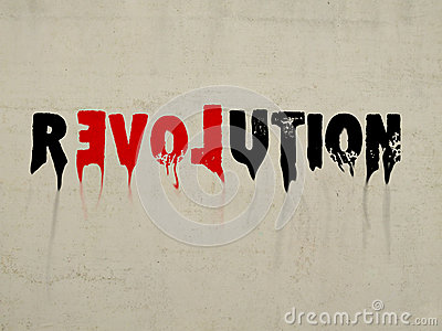 Revolution with love concept text