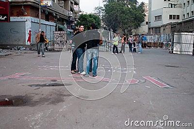Revolutionaries in Tahrir Square. Editorial Image