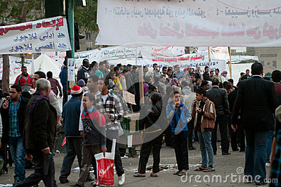Revolutionaries in Tahrir Square. Editorial Photography
