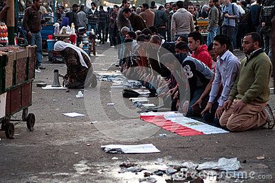 Revolutionaries in Tahrir Square. Editorial Photo