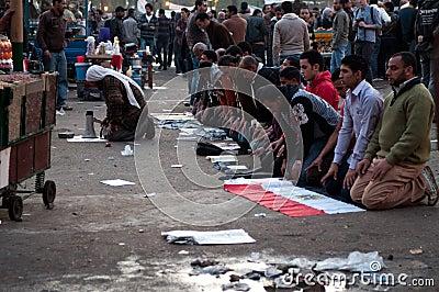 Revolutionaries in Tahrir Square. Editorial Photo