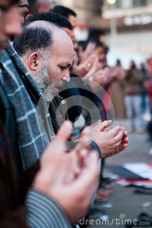 Revolutionaries in Tahrir Square. Editorial Stock Image