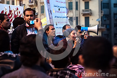 Revolutionaries in Tahrir Square. Editorial Image