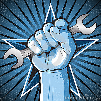 Free Revolutionary Punching Fist And Spanner Sign. Stock Photo - 49743170