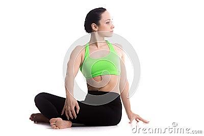 revolved easy yoga pose stock photo  image 52839712