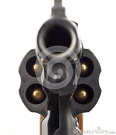 Free Revolver 38 Caliber Pistol Loaded Cylinder Gun Barrel Pointed Stock Image - 30473261