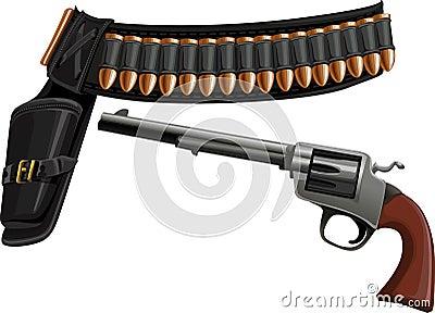 Revolver, a belt holster and ammunition