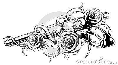 revolver de vintage avec le tatouage de roses illustration. Black Bedroom Furniture Sets. Home Design Ideas