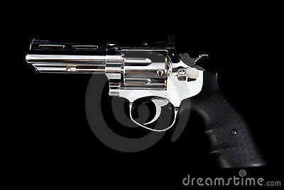 A Revolver Gun on a black background