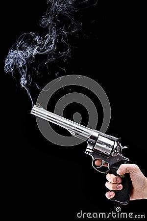 Free Revolver With Smoke Royalty Free Stock Image - 19135986