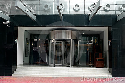 Revolving door in modern hotel