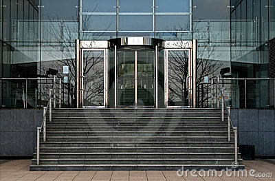 Revolving glass office doors