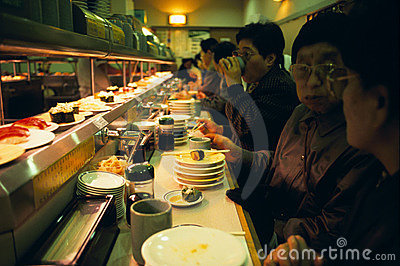 Revolving Sushi Bar in Tokyo Editorial Stock Photo