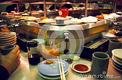 Revolving Sushi Bar in Tokyo Editorial Stock Image