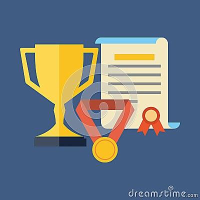 Rewards Achievements Awards Concept Flat Design Stock Vector Image 52017513