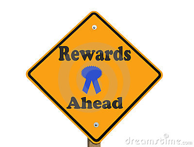 Rewards ahead sign isolated