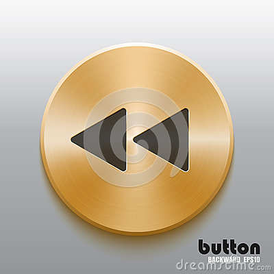 Free Rewind Back Golden Button With Black Symbol Royalty Free Stock Image - 89071496