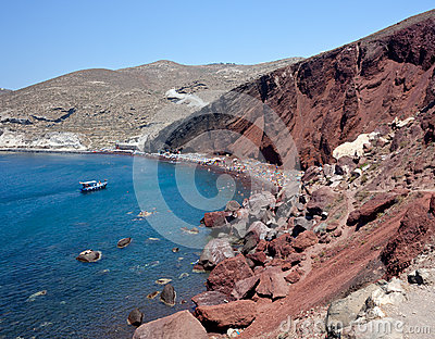 Rewolucjonistki plaża Grecja - Santorini wyspa -