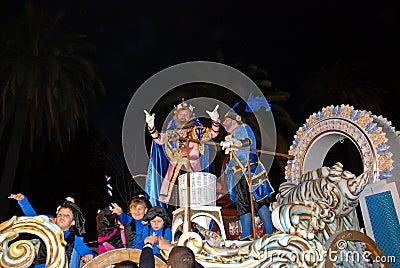 Rey Melchor Throwing Candy in Malaga Editorial Photo
