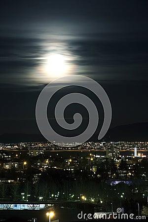 Reykjavík ,Night ,Moon ,Light