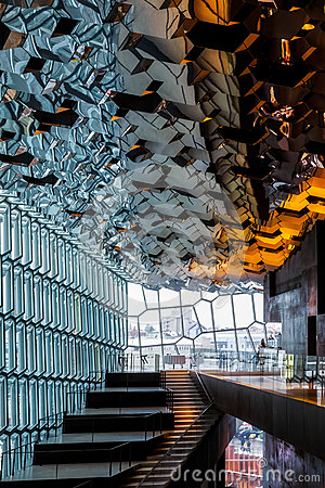 Free REYKJAVIK/ICELAND - FEBRUARY 4 : Interior View Of The Harpa Concert Hall In Reykjavik On February 4, 2016. Unidentified People Royalty Free Stock Images - 82504499