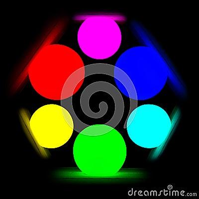 RGB color model on black