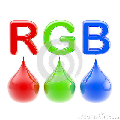 Free RGB Color Scheme: Three Drops Isolated On White Stock Photos - 34509953