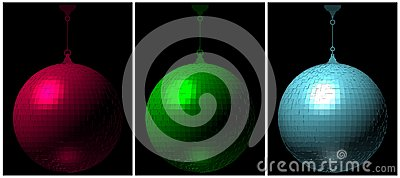 RGB Disco Ball On Black Background Vector