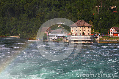 Rhine Falls with rainbow