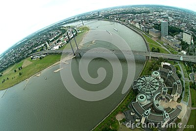 Rhine river in Dusseldorf Editorial Stock Photo