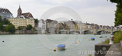 Rhine river and Mittlere brucke bridge, Basel