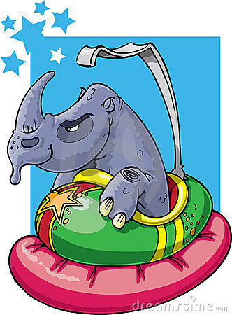Rhino in bumper car