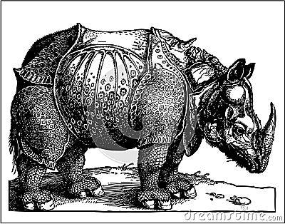 Rhino old engraving