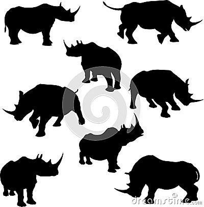 Free Rhino Silhouettes Stock Photos - 9044463