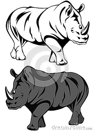 Free Rhino Vector Royalty Free Stock Photography - 19287617