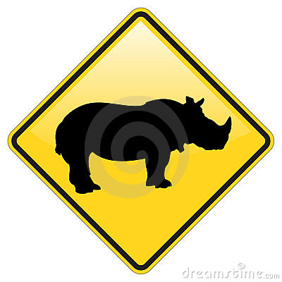 Rhino Warning Sign