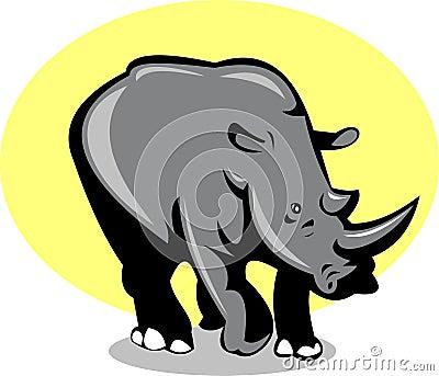 Rhinoceros attacking