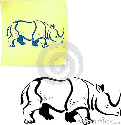 Rhinoceros drawing on post it note