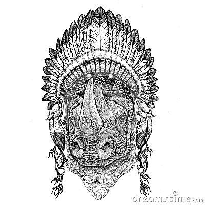Rhinoceros, rhino Hand drawn illustration for tattoo, emblem, ba Stock Photo