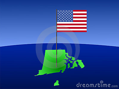 Rhode Island with Flag