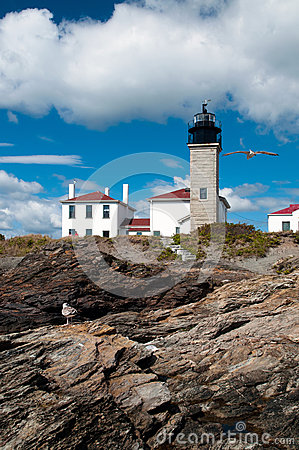 Rhode island 39 s beavertail lighthouse royalty free stock for What state has the most lighthouses