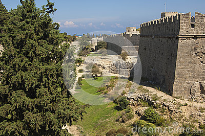 RHODES/GREECE City walls of Rhodes Old town Editorial Photography